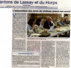 L'association prend son envol (Courrier de la Mayenne Juin 2014)